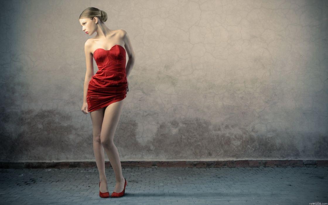 Legs women dress fashion red dress wallpaper