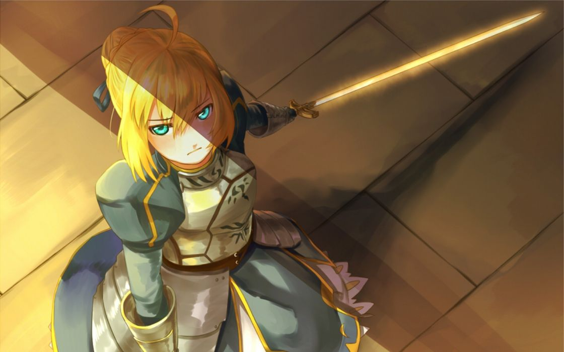 Blondes fatestay night weapons excalibur armor saber  anime girls swords fate series wallpaper