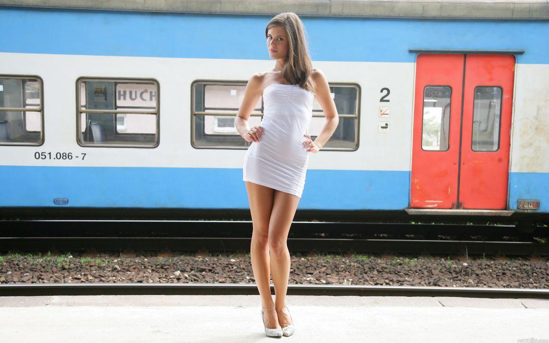 Brunettes legs women dress trains pornstars high heels little caprice czech republic w4b magazine minidress wallpaper