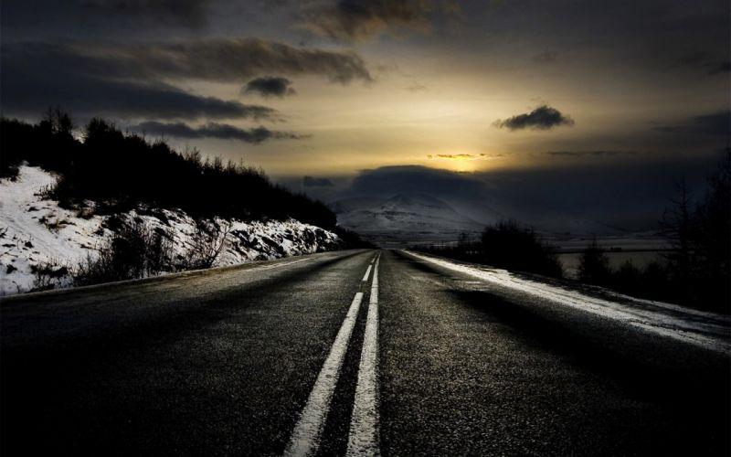 Sunset winter roads wallpaper