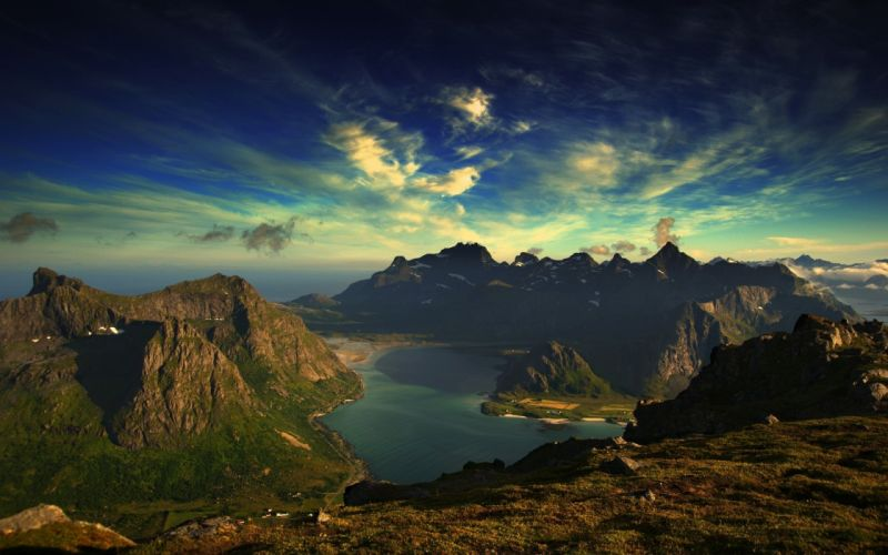 Mountains clouds landscapes lakes skyscapes wallpaper