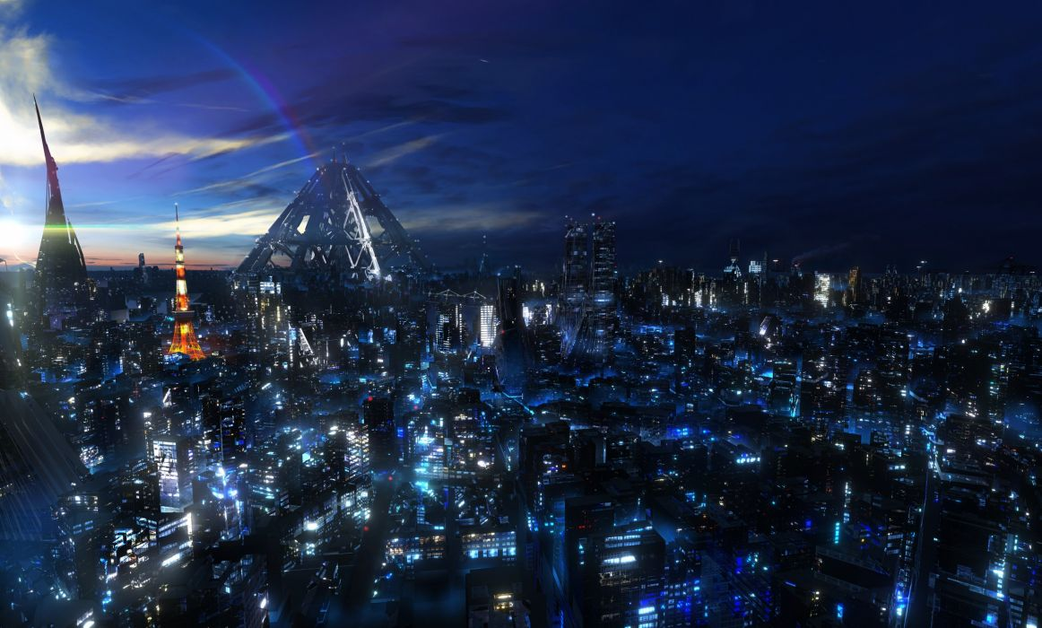 Japan clouds cityscapes night digital art skyscapes guilty crown wallpaper