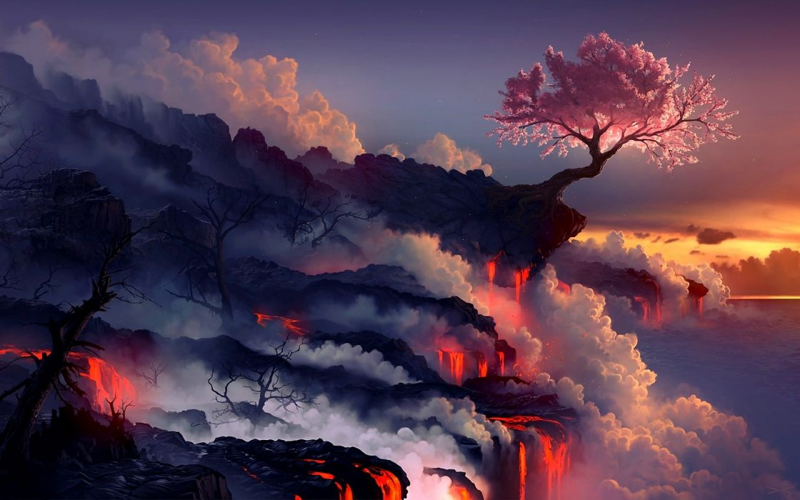 Landscapes cherry blossoms trees sea lava smoke rocks artwork drawings wallpaper