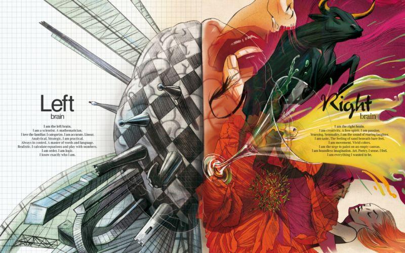 Abstract multicolor brain artwork wallpaper
