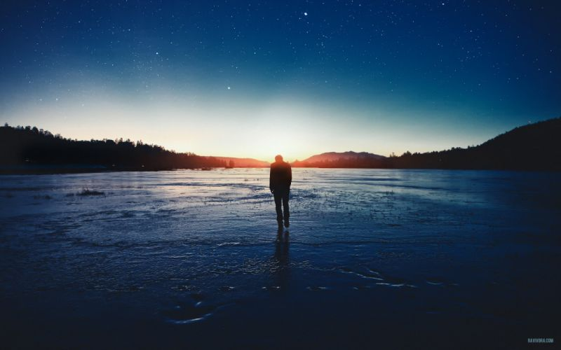 Water sunset stars walk men surface skyscapes wallpaper