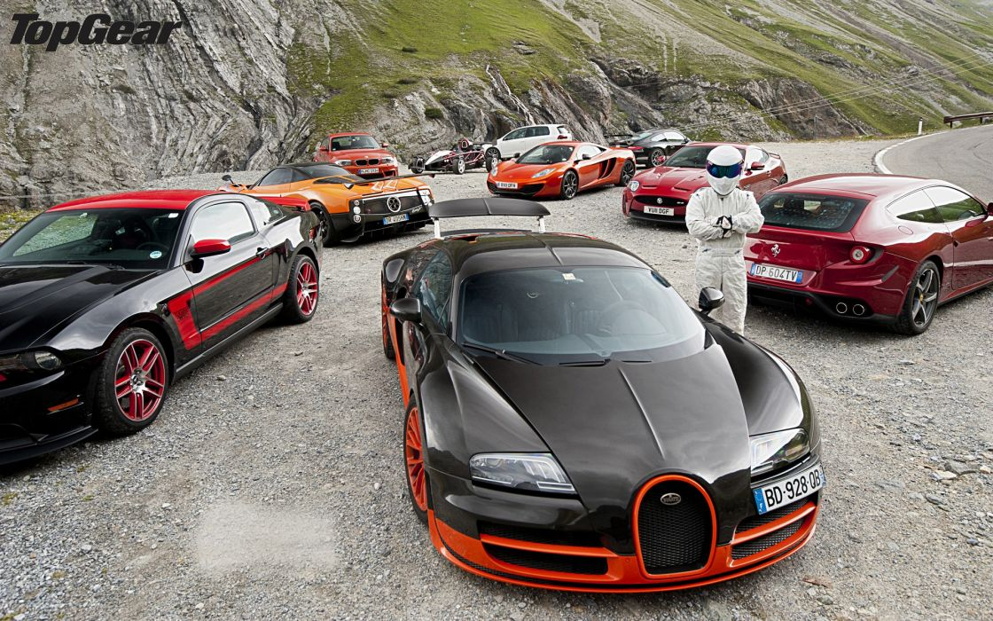 Nature black red cars top gear the stig orange ferrari bugatti veyron bugatti gti zonda ariel atom ferrari ff mclaren mp4-12c bmw 1 series m coupe ford mustang boss 302 wallpaper