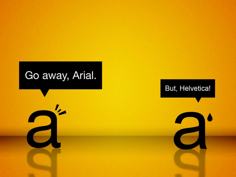 Yellow funny typography helvetica font arial wallpaper