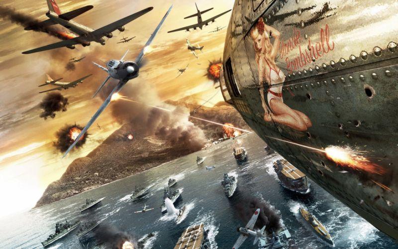 Video games war bombs islands artwork shooting pacific battlestations midway wallpaper
