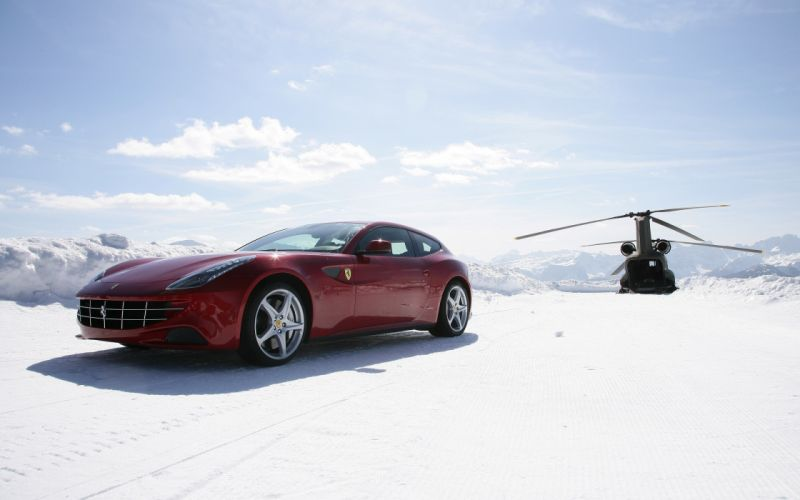 Winter snow aircraft helicopters cars ferrari vehicles ferrari ff wallpaper