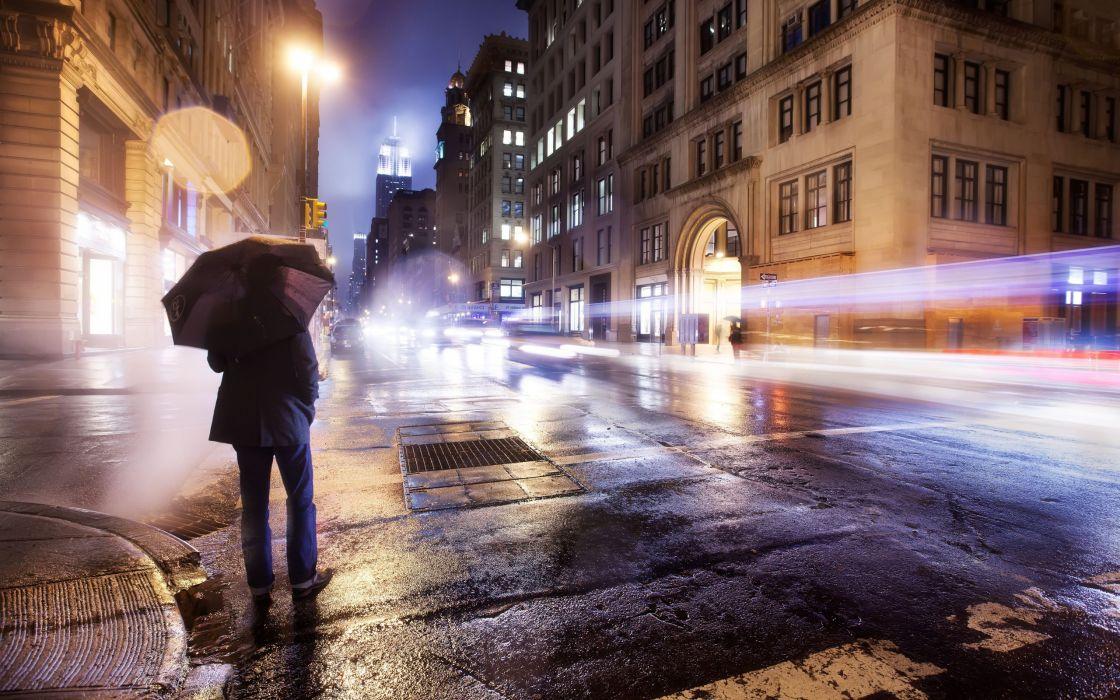 Cityscapes streets night cars men new york city long exposure umbrellas wallpaper