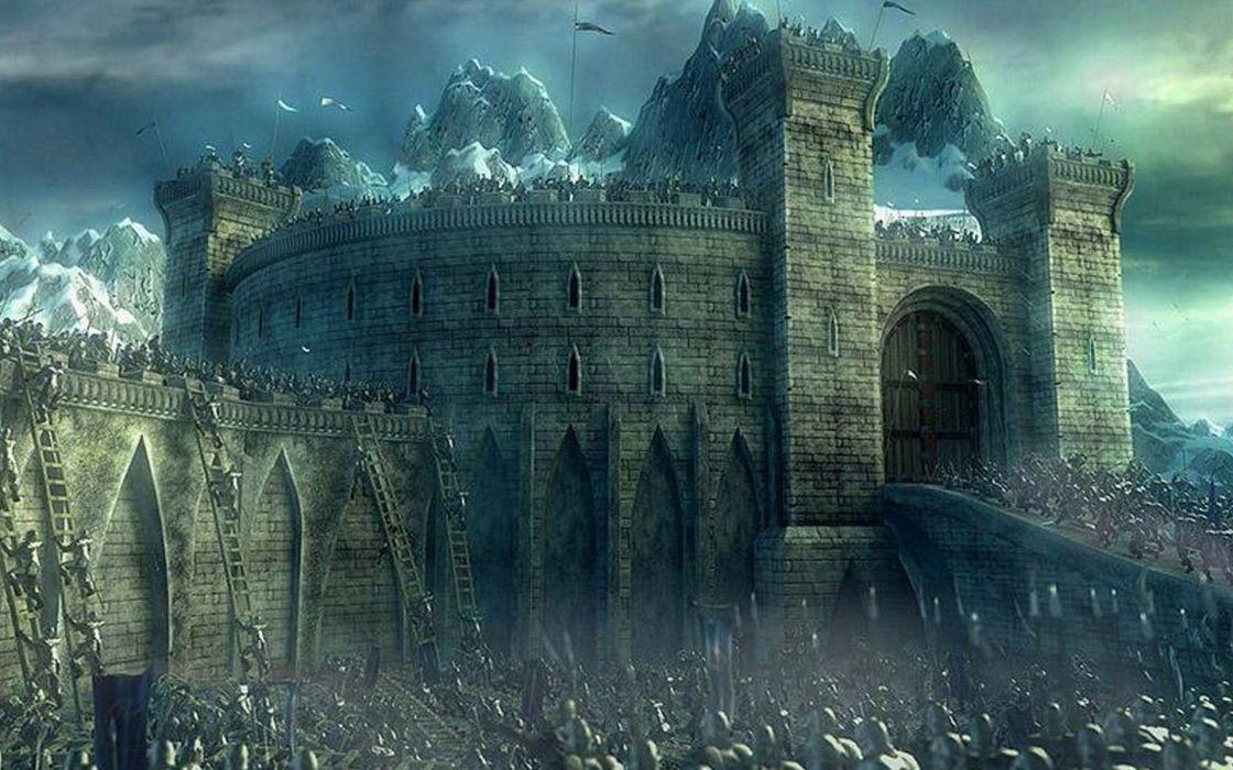 Castles fantasy art battles artwork low resolution helms deep wallpaper