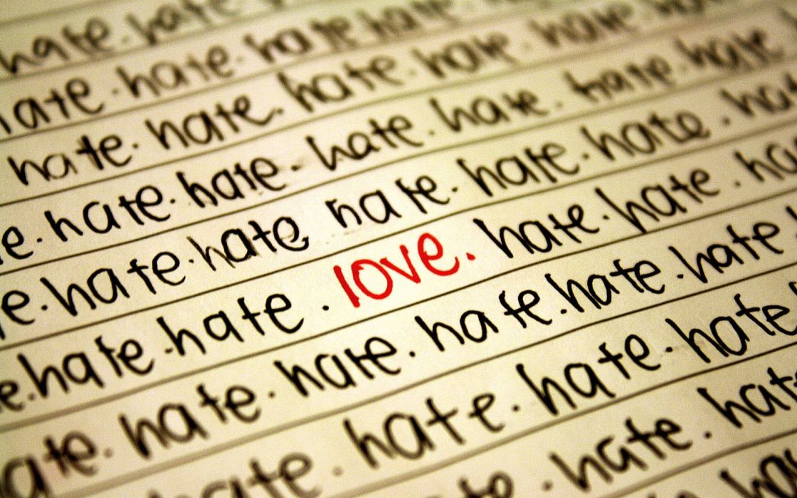 Love typography hate focus text only selective coloring wallpaper