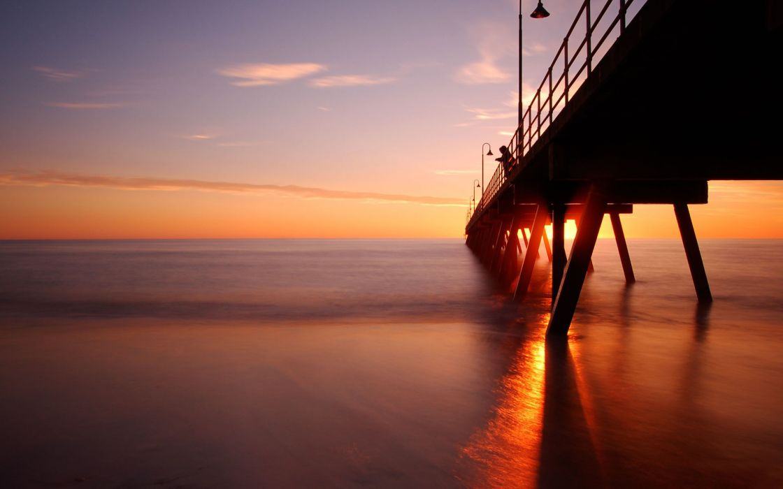 Sunset landscapes coast pier dusk seascapes wallpaper