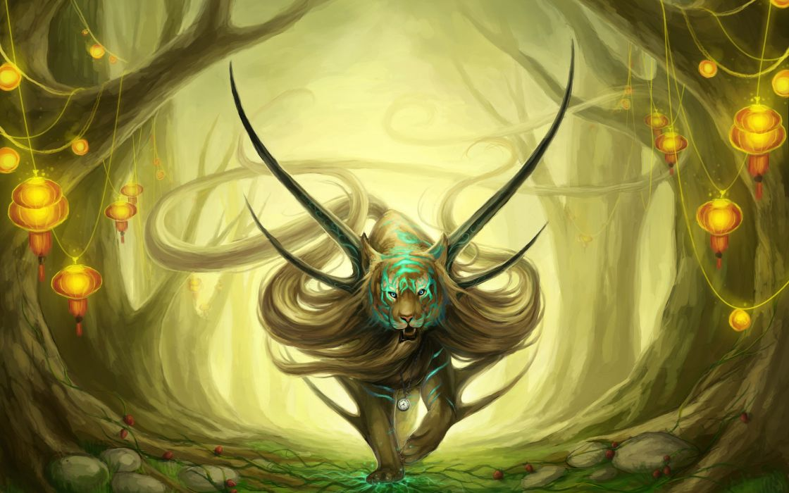 Tigers fantasy art artwork wallpaper