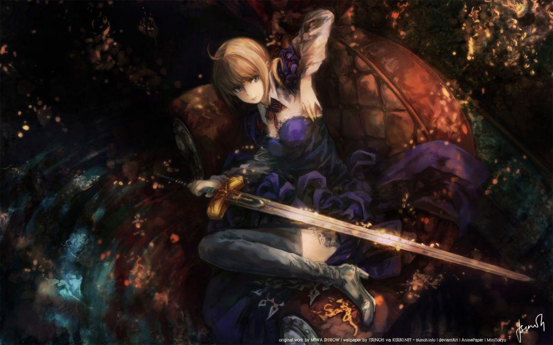 Blondes dark dress knights ribbons weapons short hair thigh highs chairs lying down warriors saber  fatezero miwa shirow blue dress anime girls swords fate series wallpaper