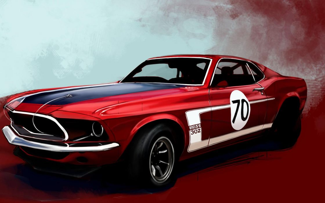 Muscle cars boss racer vehicles ford mustang wallpaper