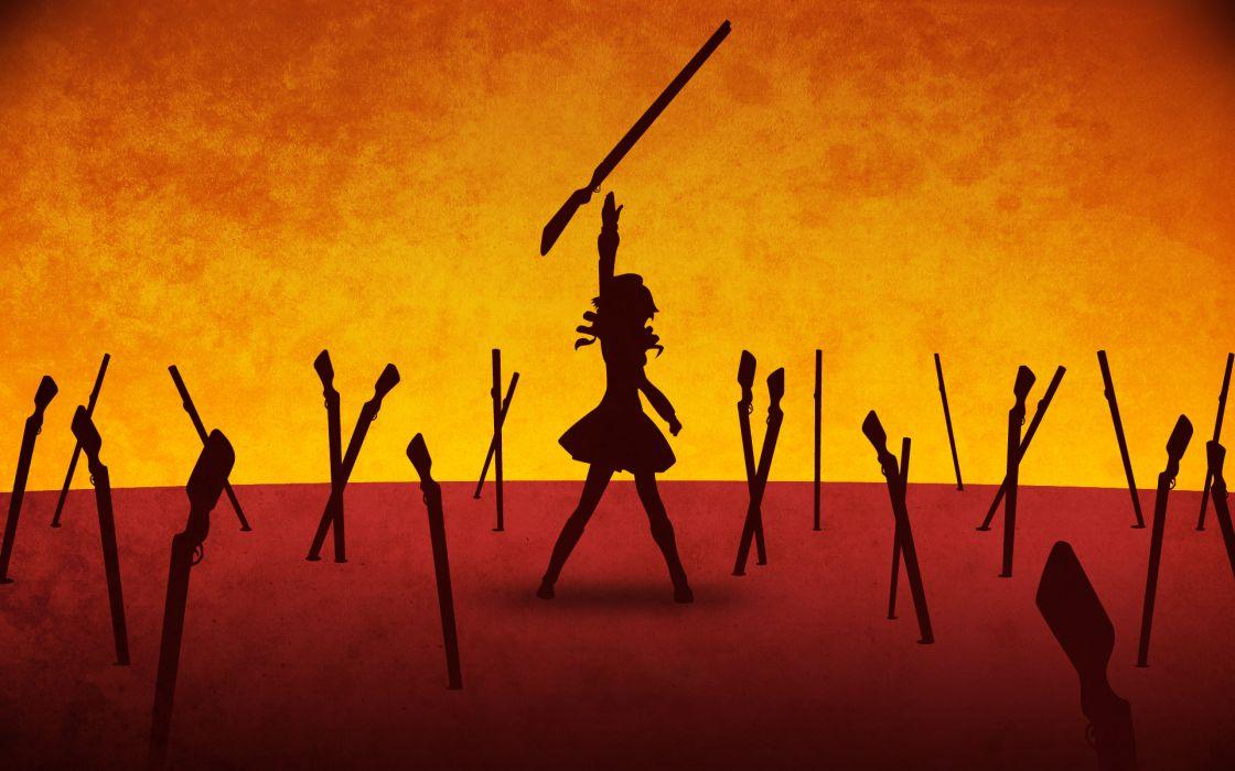 Rifle guns unlimited blade works mahou shoujo madoka magica tomoe mami anime anime girls fate series wallpaper