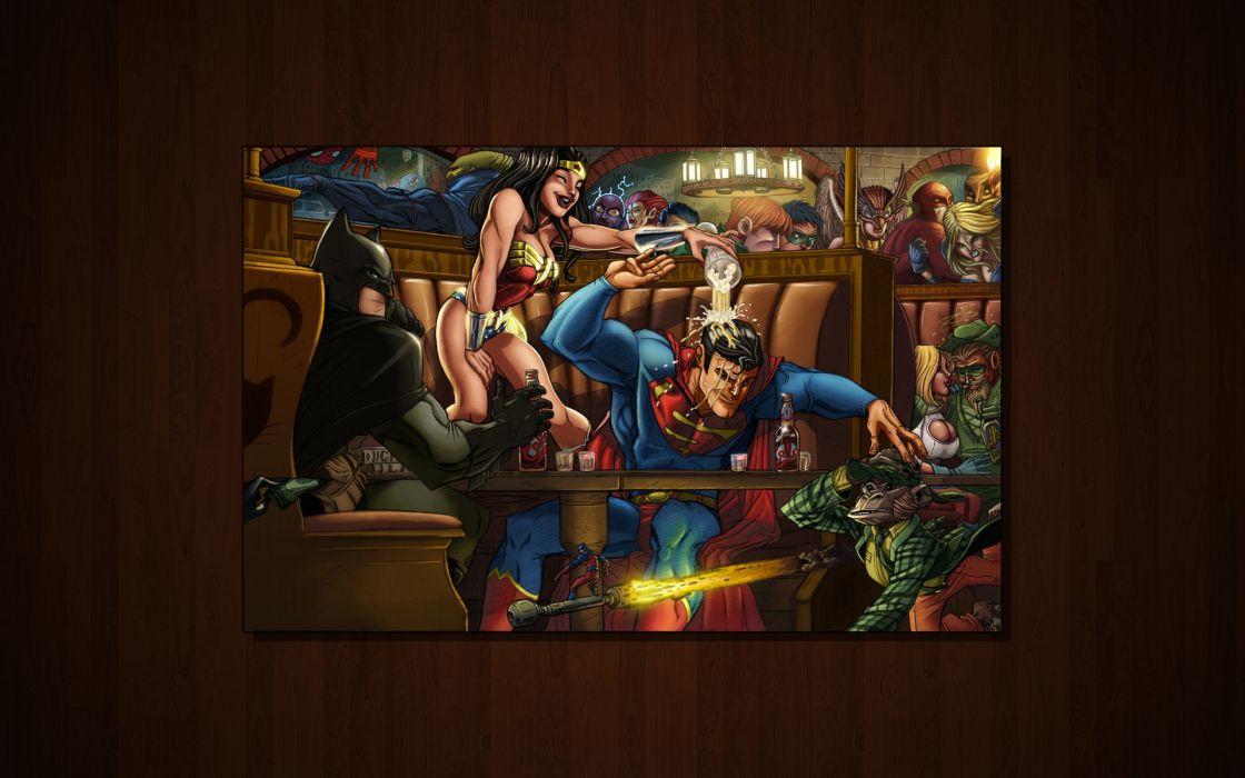 Batman dc comics superman funny power girl green arrow wonder woman wallpaper