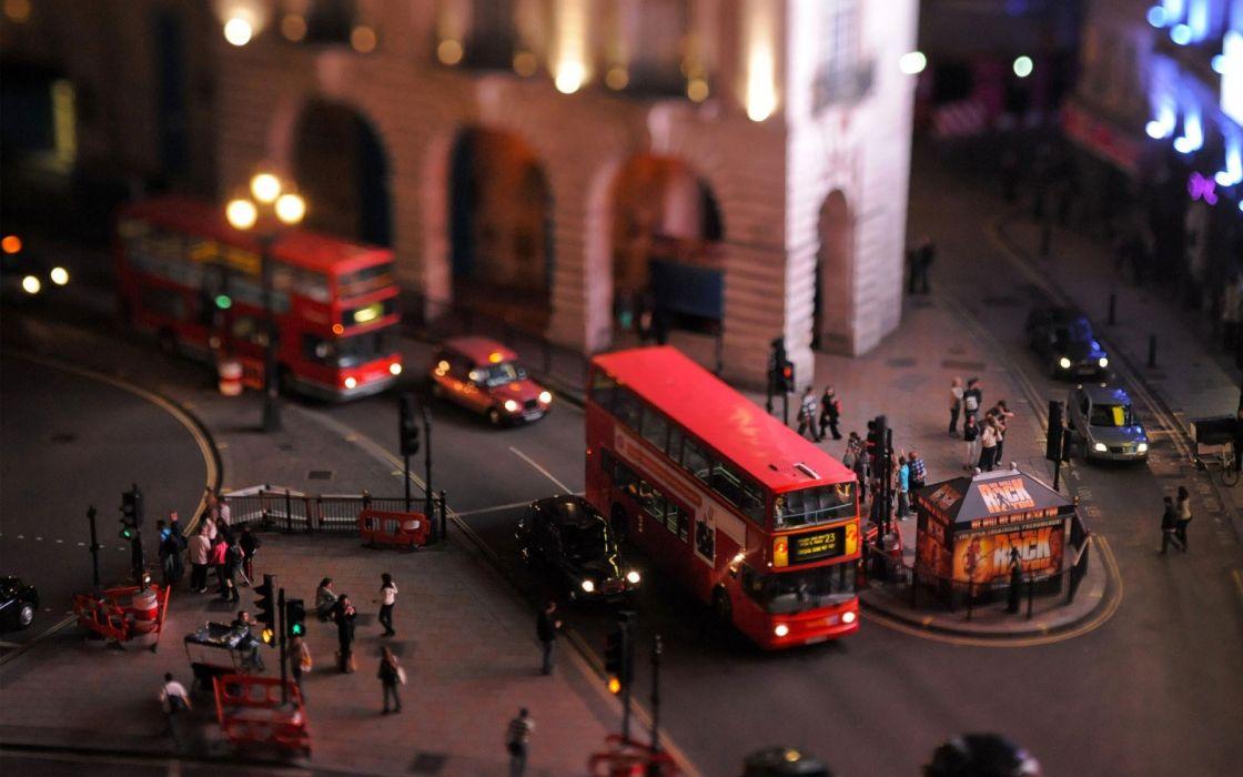 Cityscapes london town bus tilt-shift wallpaper