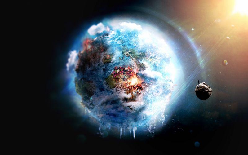 Outer space world futuristic fire earth frozen destruction wallpaper