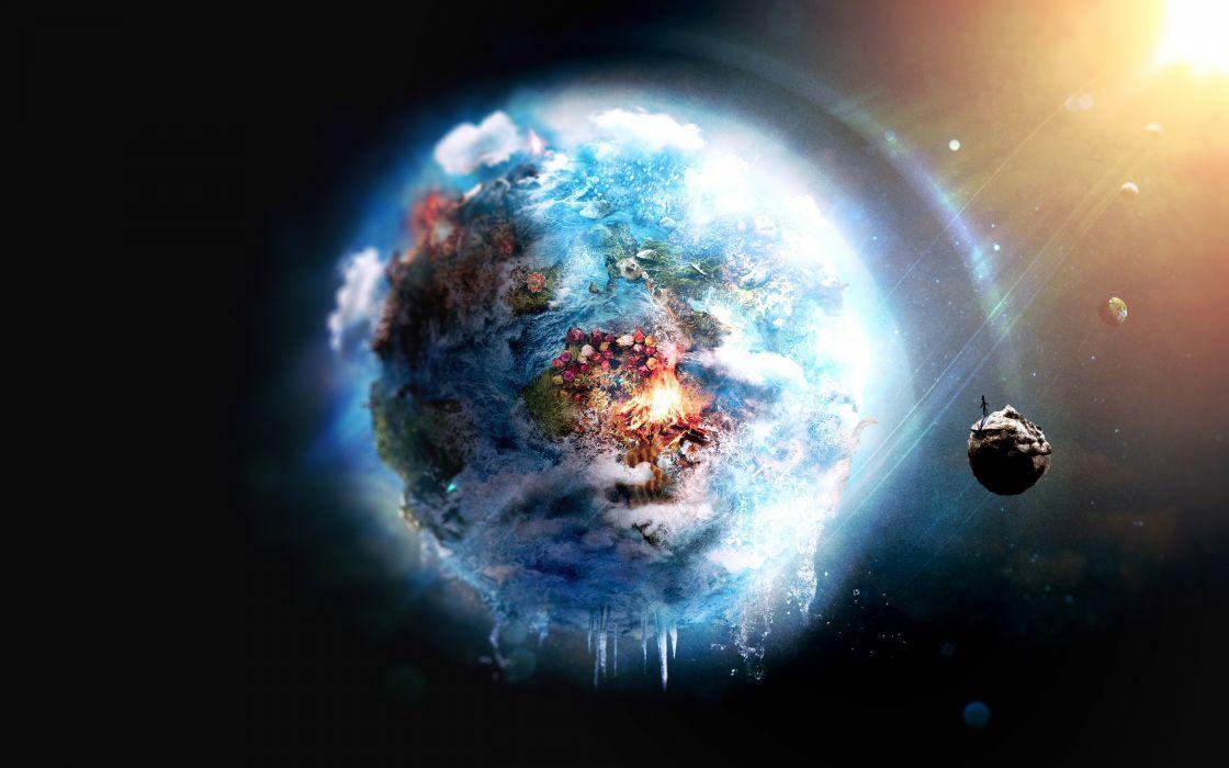 Resultado de imagem para planet earth on frozen fire