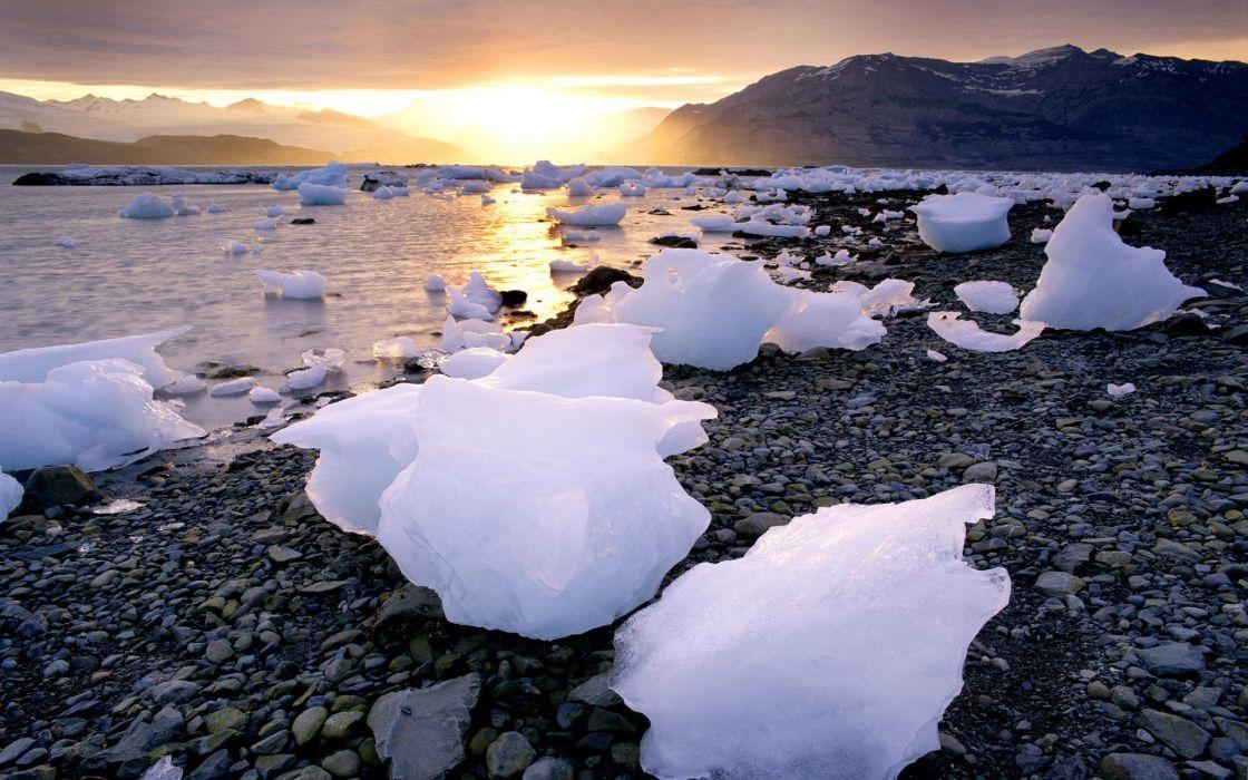 Ice sunrise landscapes sea wallpaper