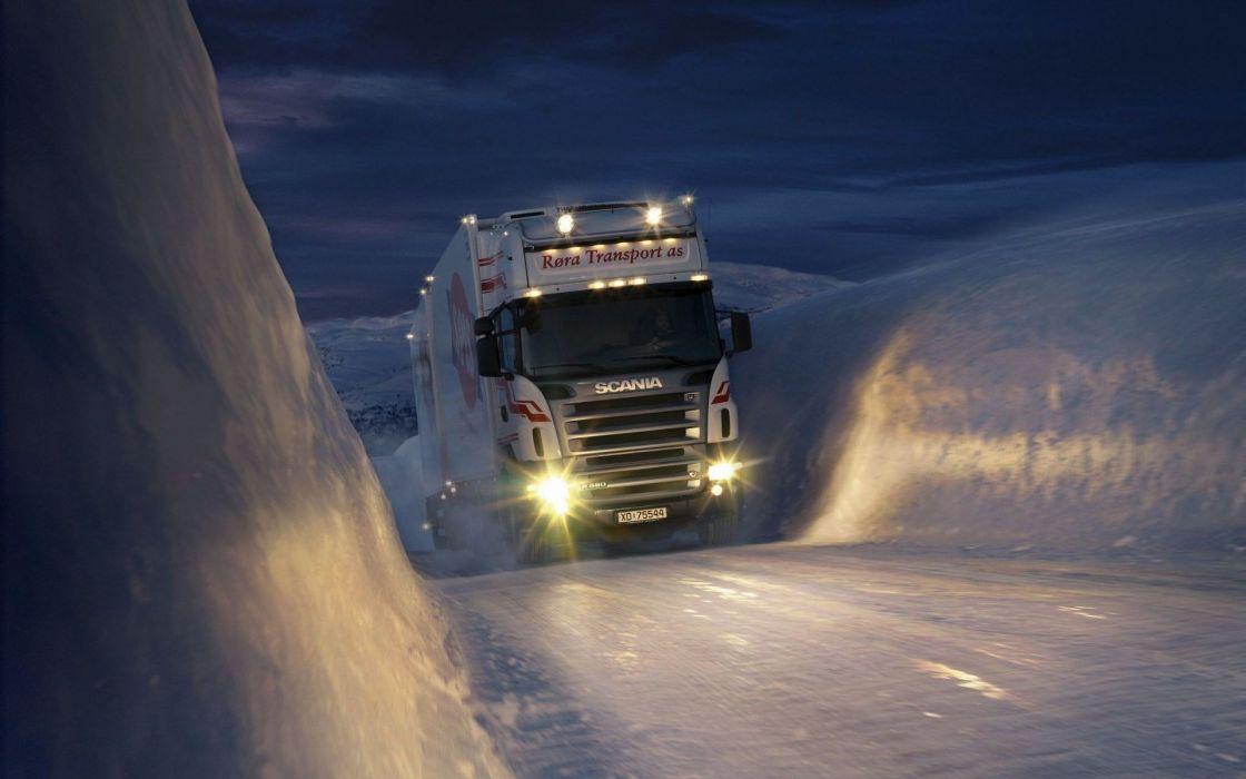 Winter snow night trucks norway trailer vehicles scania headlights wallpaper