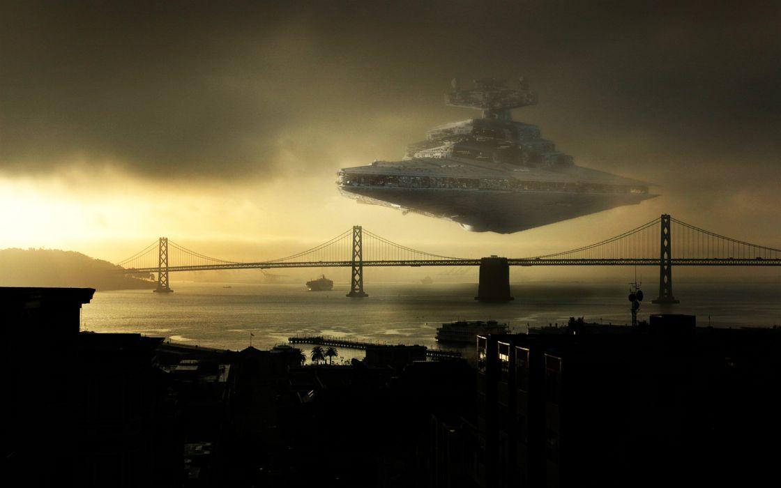 Star wars bridges star destroyer photomanipulations wallpaper