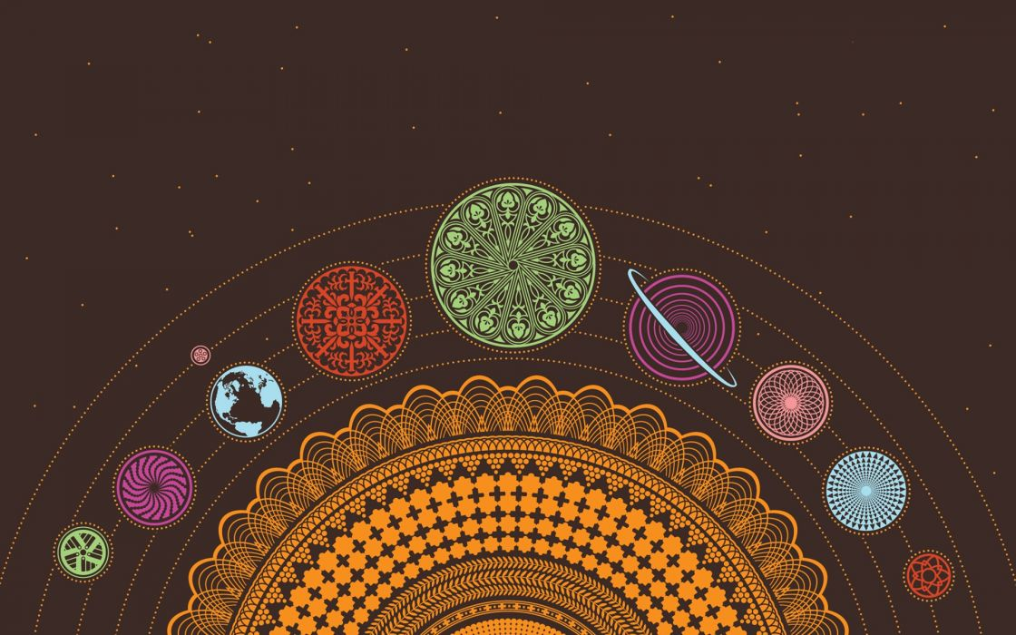 Solar system planets earth psychedelic scheme chakra esoteric wallpaper