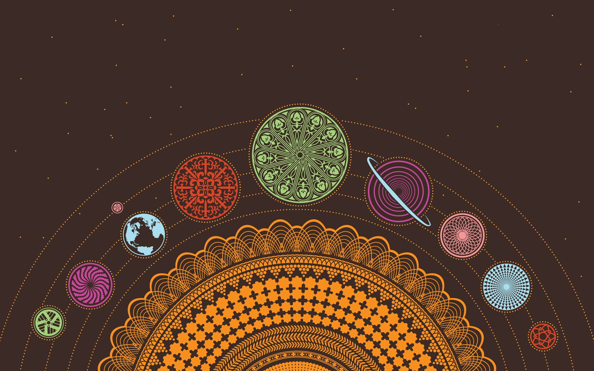 Solar system planets earth psychedelic scheme chakra ...