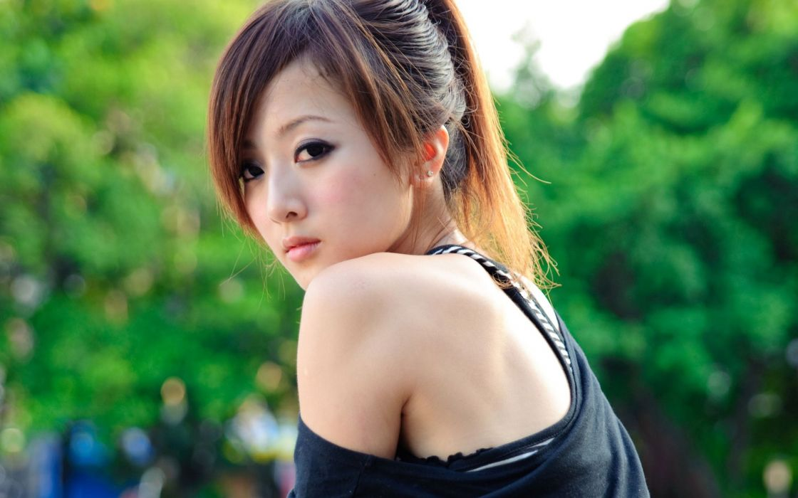 Brunettes women asians public mikako zhang kaijie wallpaper