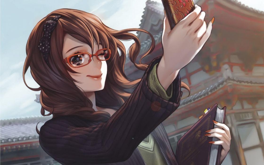 Glasses long hair smiling meganekko anime girls telephones midori foo wallpaper