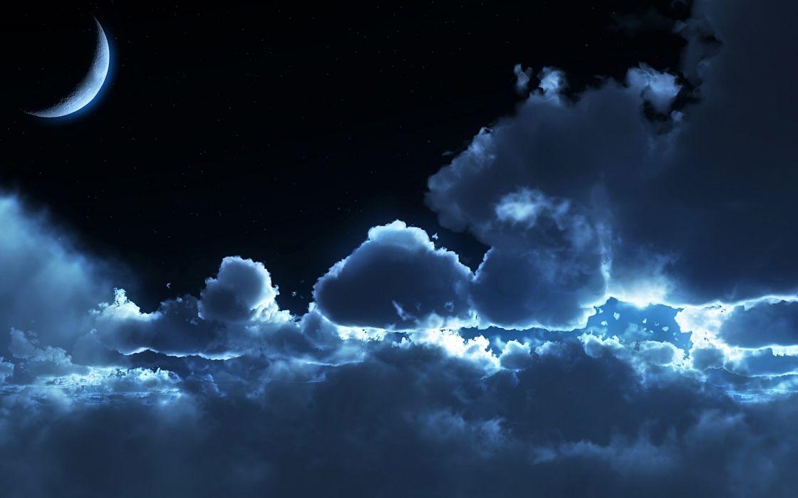 Clouds night moon wallpaper