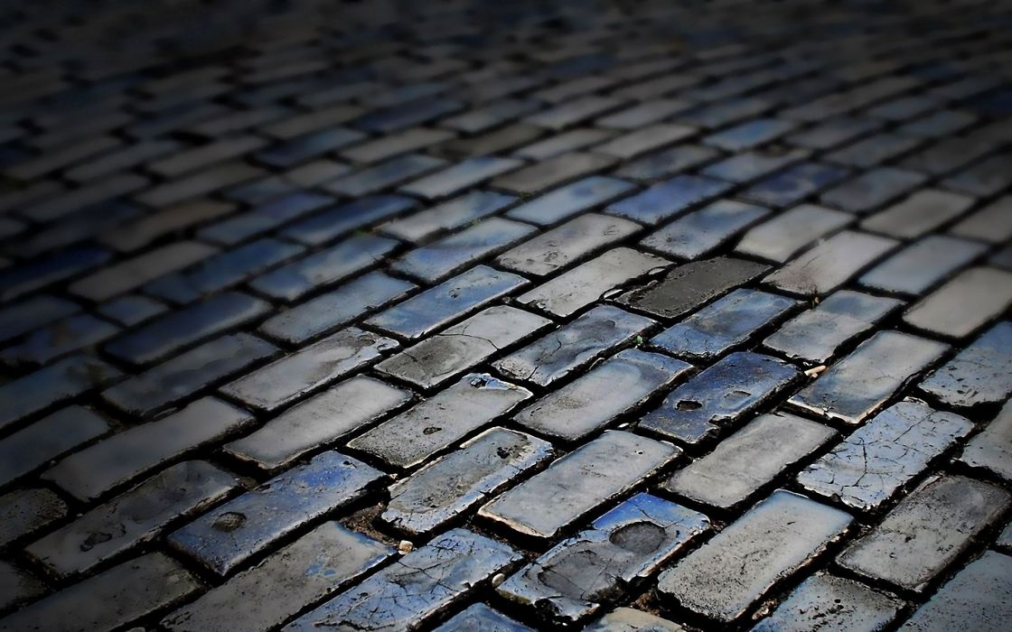 Pavement bricks tilt-shift sidewalks constructions wallpaper