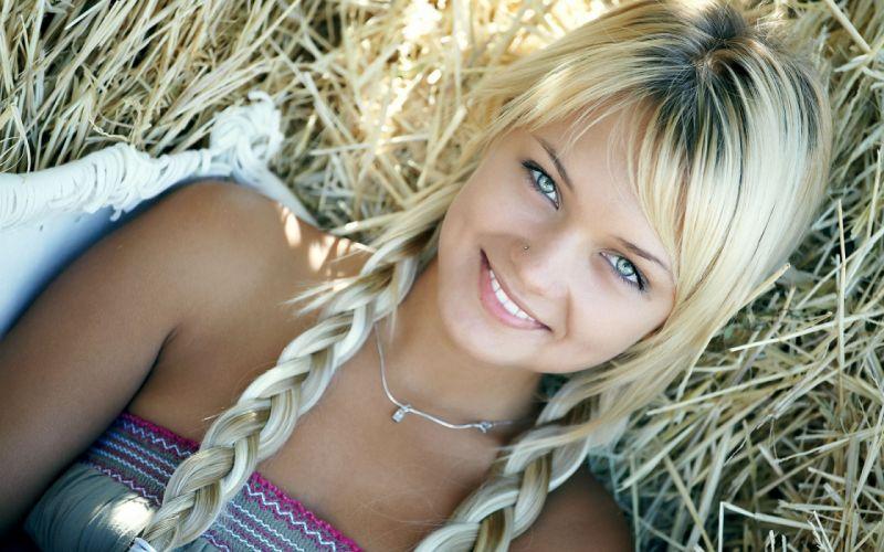 Blondes women teen hay pigtails smiling lada d wallpaper