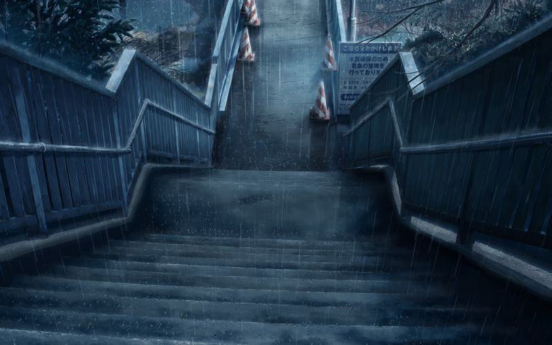 Rain stairways wallpaper
