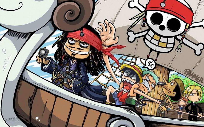 One piece (anime) roronoa zoro pirates of the caribbean crossovers captain jack sparrow fan art monkey d luffy nami (one piece) sanji (one piece) wallpaper