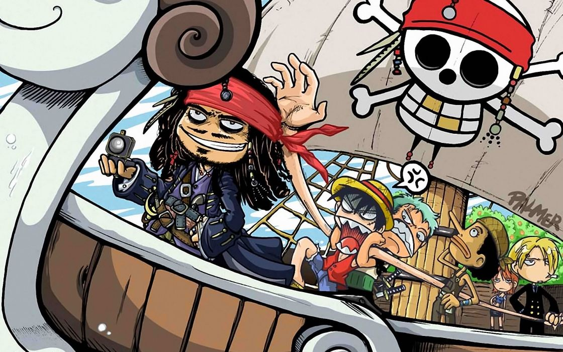One piece (anime) roronoa zoro pirates of the caribbean crossovers captain jack sparrow fan art monkey d luffy nami (one piece) sanji (one piece) wallpaper
