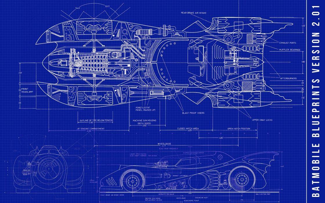 Batman blue dc comics blueprints batmobile 3d wallpaper