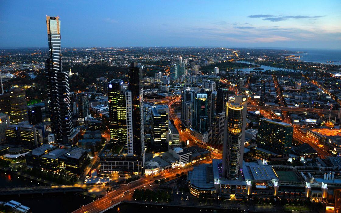 Cityscapes lights australia melbourne wallpaper