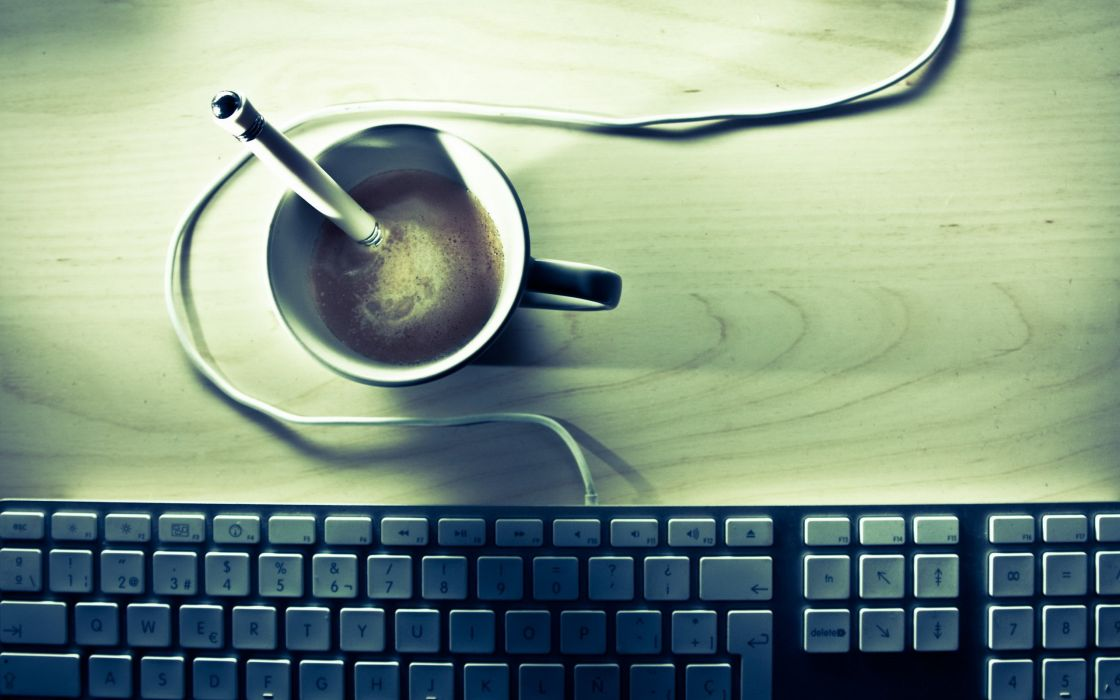 Minimalistic coffee keyboards macro pencils wires wallpaper