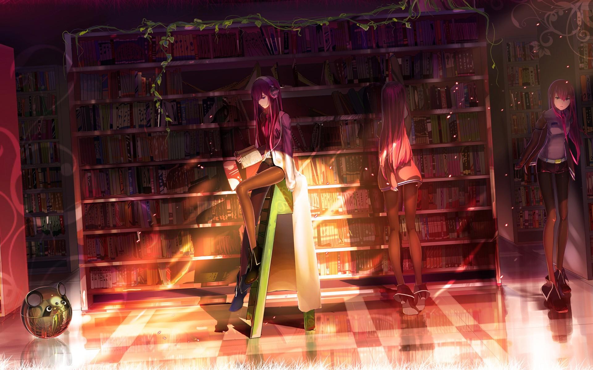 Headphones Library Anime Steinsgate Makise Kurisu Girls Wallpaper