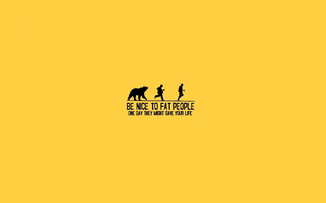 Yellow fat funny people running bears life yellow background wallpaper