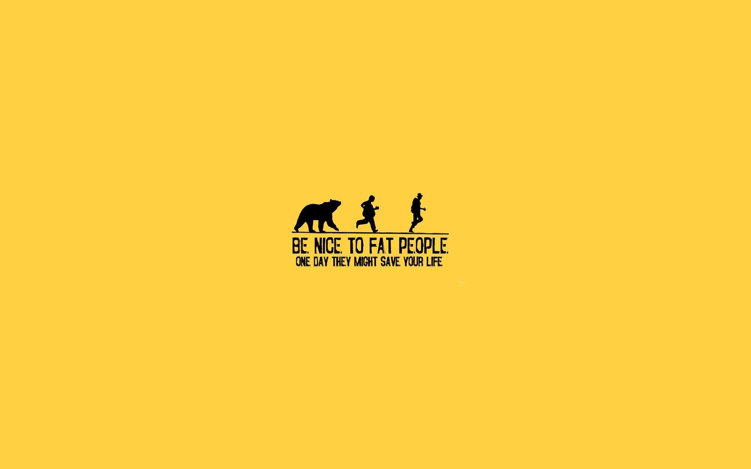 Yellow Fat Funny People Running Bears Life Background Wallpaper