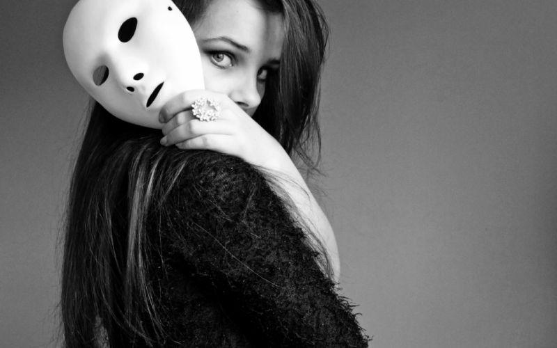 Women models masks monochrome wallpaper