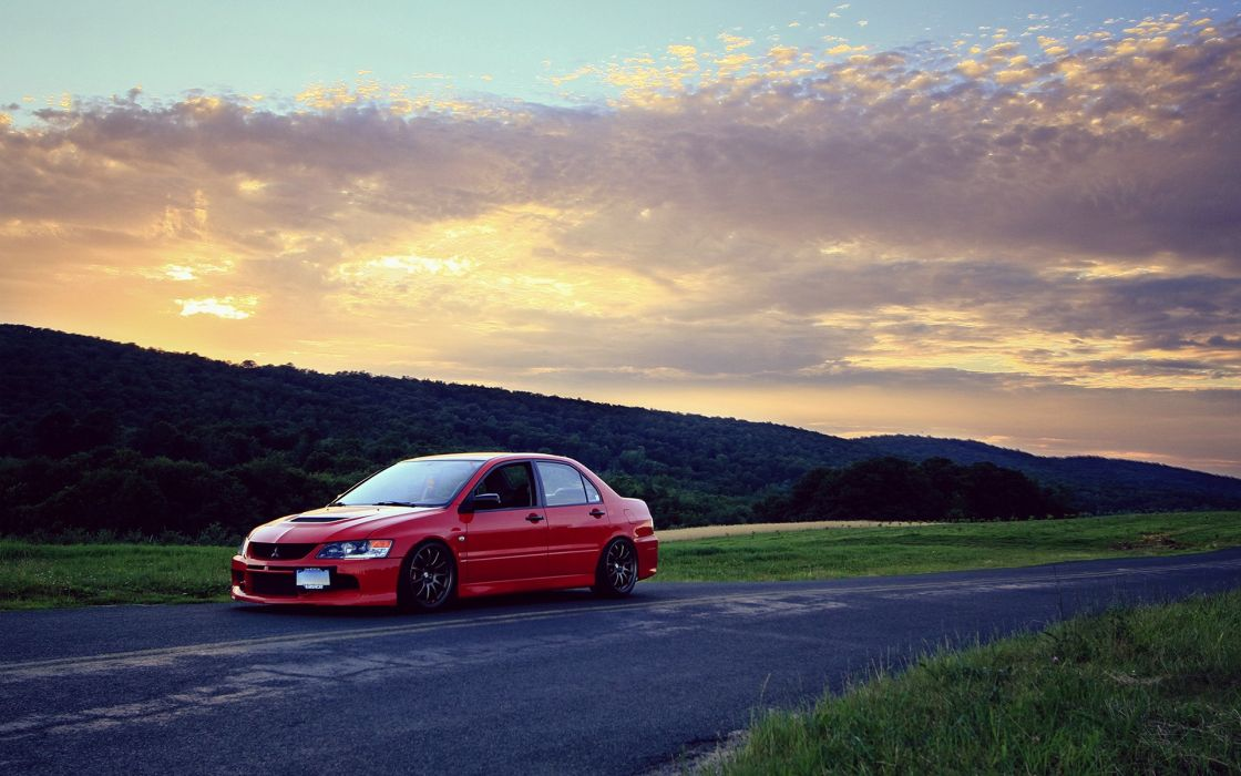 Sunset landscapes cars evo evolution roads wallpaper