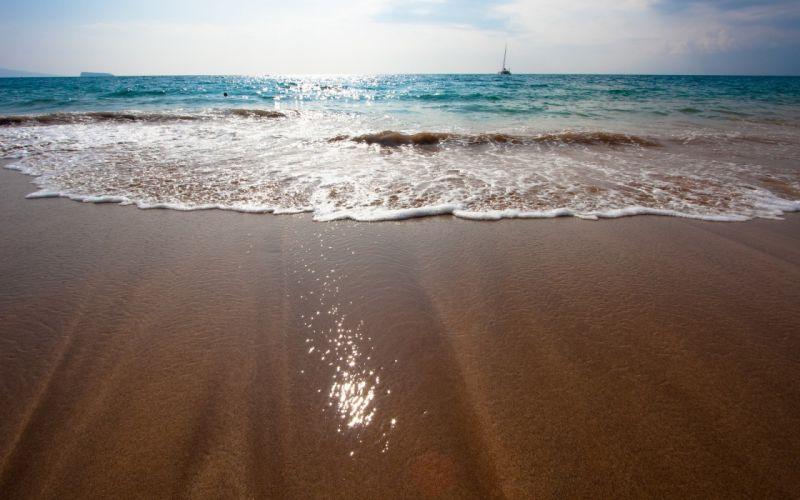 Water beach sand ships vehicles wallpaper