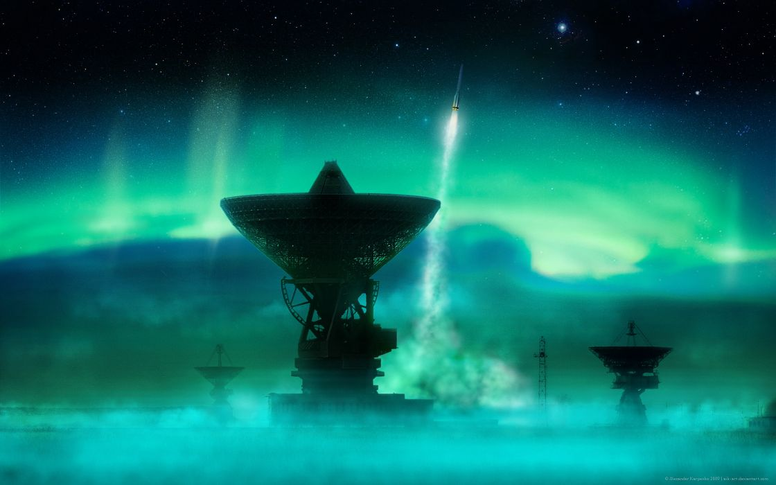 Outer space rockets aurora wallpaper
