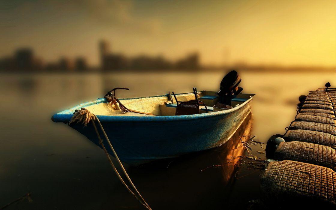 Water boats tilt-shift docks wallpaper