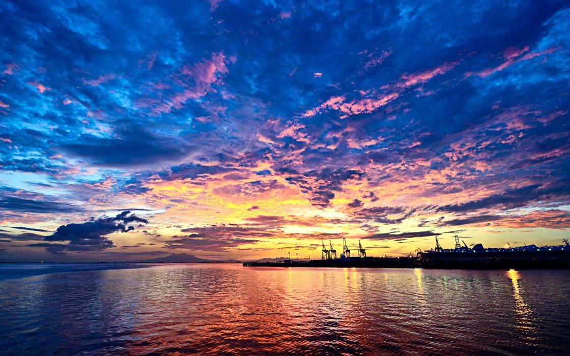 Water sunset landscapes wallpaper